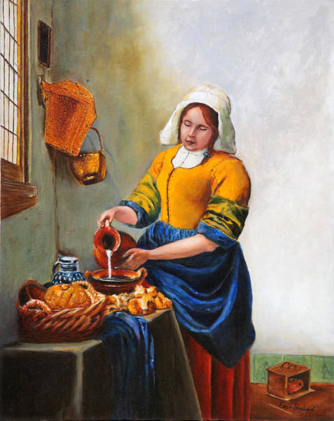 Wall Art - Painting - Milk Maid After Vermeer by Portraits By NC