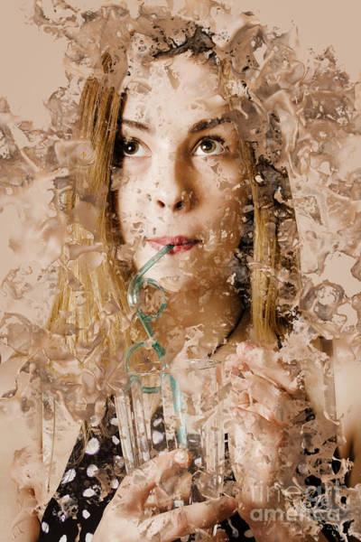 Photograph - Milk Shake Pin-up Woman. Restaurant Art  by Jorgo Photography - Wall Art Gallery