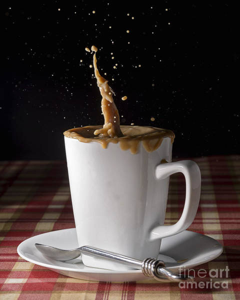 Photograph - Milk Splash In A Coffee Cup by Art Whitton