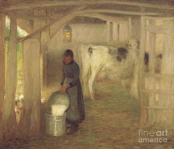 Churn Painting - Milking Time  Early Morn by William Edward Stott