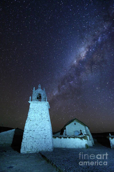 Photograph - Milky Way Above Guallatiri Village Church Chile by James Brunker