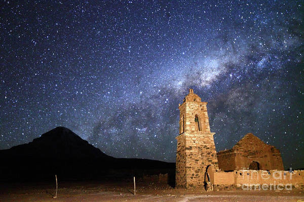 Desert View Tower Photograph - Milky Way Above Ruined Church And Sajama Volcano Bolivia by James Brunker