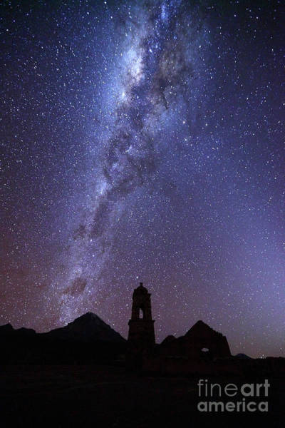 Photograph - Milky Way Above Ruined Church Tower by James Brunker