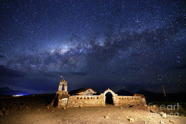 Photograph - Milky Way And Lagunas Church Bolivia by James Brunker