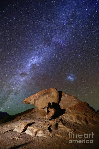 Photograph - Milky Way And Lava Rock Formation Nor Lipez Bolivia by James Brunker