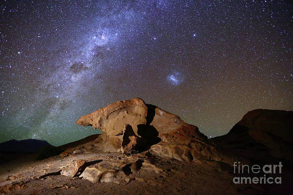 Photograph - Milky Way And Lava Rock Formation North Lipez Bolivia by James Brunker