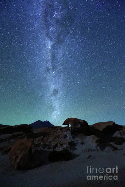 Photograph - Milky Way And Volcanic Desert Scenery By Moonlight Bolivia by James Brunker