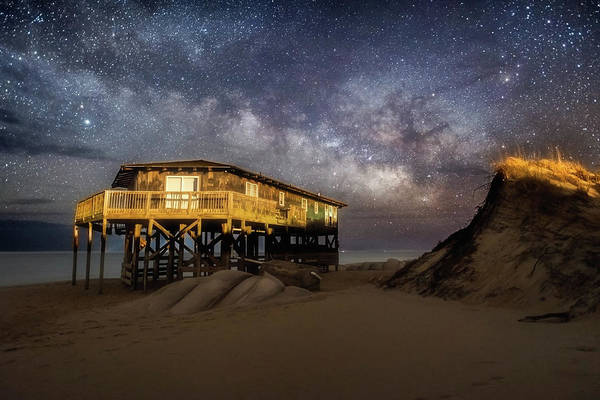 Milky Way Beach House Art Print