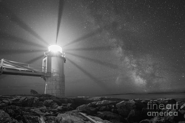 Marshall Point Lighthouse Photograph - Milky Way Beacon Of Light Bw by Michael Ver Sprill