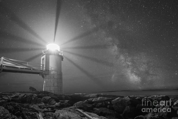 Mv Photograph - Milky Way Beacon Of Light Bw by Michael Ver Sprill