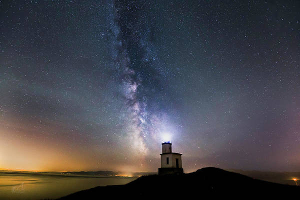 San Juan Islands Wall Art - Photograph - Milky Way Cattle Point Lighthouse by Thomas Ashcraft
