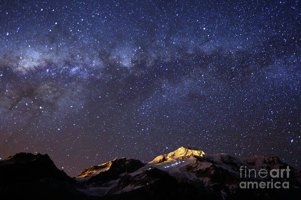 Photograph - Milky Way Galactic Center And Mt Huayna Potosi Bolivia by James Brunker