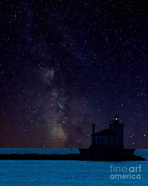 Milky Way Lighthouse Art Print
