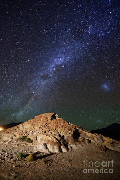 Photograph - Milky Way Magellanic Clouds And Lava Rock Formation Bolivia by James Brunker
