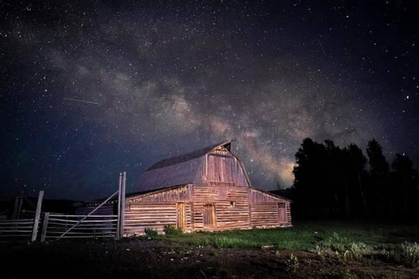 Photograph - Milky Way Mormon Row Barn by Harriet Feagin
