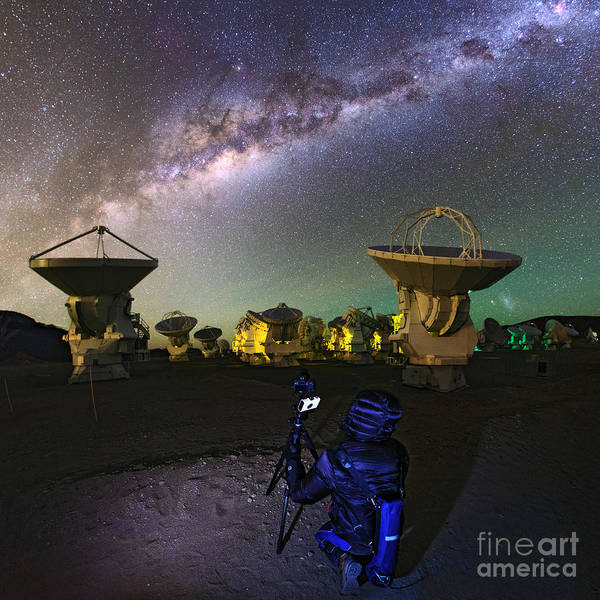 Photograph - Milky Way Over Alma Radio Telescopes by Babak Tafreshi
