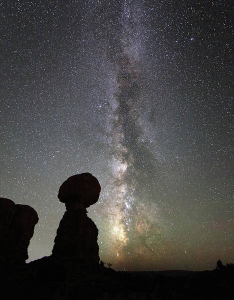 Photograph - Milky Way Over Balanced Rock by Jean Clark
