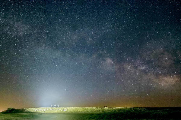 Photograph - Milky Way Over Christ Pilot Me Hill by Rob Graham