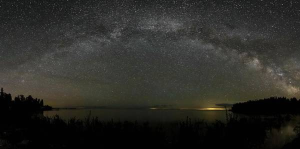Milky Way Over Lake Michigan At Cana Island Lighthouse Art Print