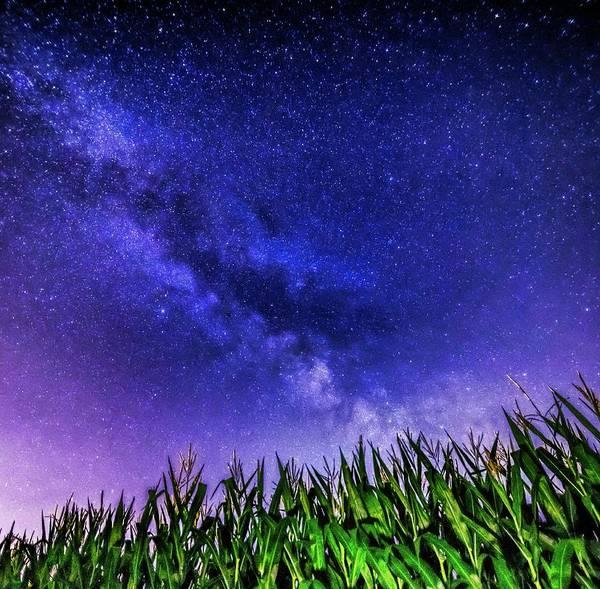 Wall Art - Mixed Media - Milky Way Over Ohio Field by Dan Sproul