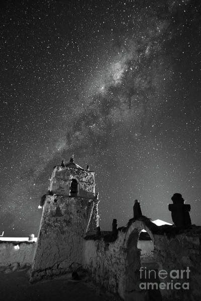 Photograph - Milky Way Over Parinacota Church In Black And White Chile by James Brunker