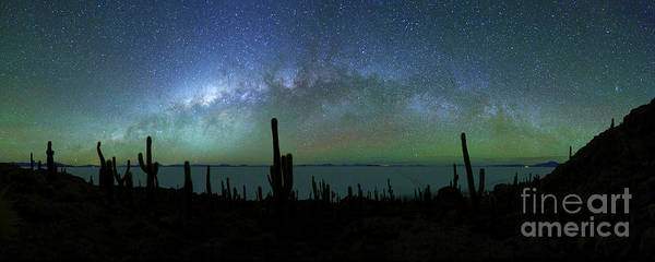 Photograph - Milky Way Panoramic And Green Airglow by James Brunker