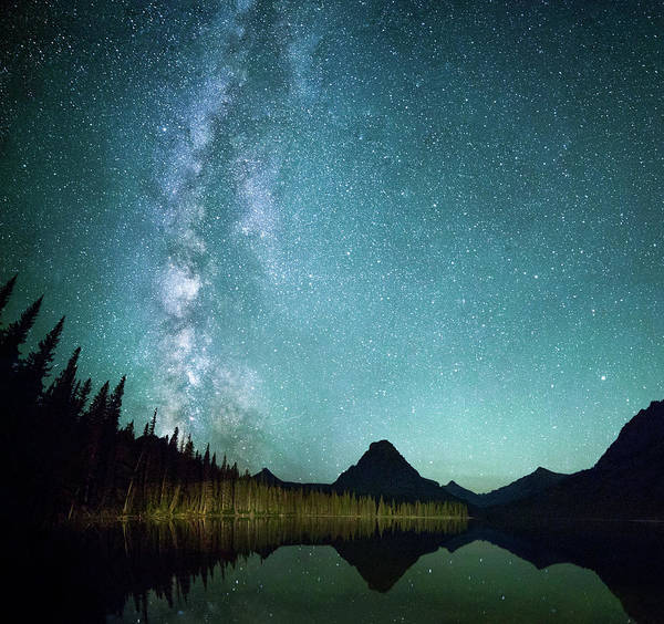 Skies Photograph - Milky Way // Two Medicine Lake, Glacier National Park by Nicholas Parker