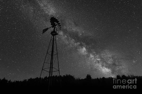 Germania Photograph - Milky Way Windmill Bw by Michael Ver Sprill