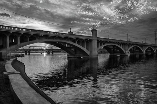 Wall Art - Photograph - Mill Avenue Bridge At Sunset Black And White by Dave Dilli
