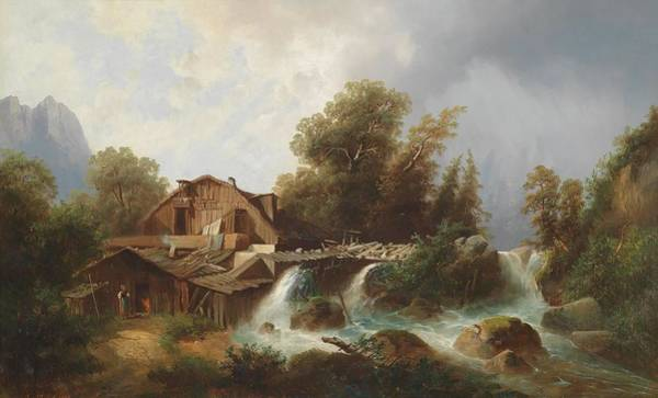 Rauch Wall Art - Painting - Mill In The Alps by MotionAge Designs