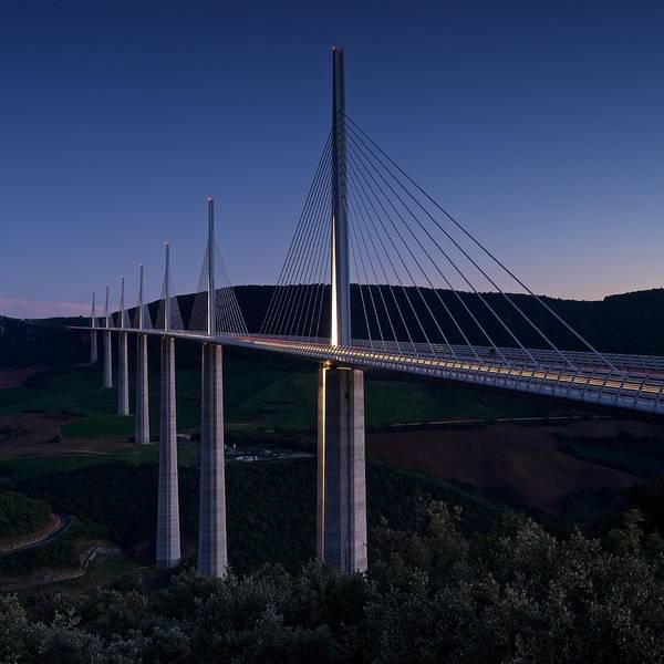 Photograph - Millau Viaduct At Dusk by Stephen Taylor