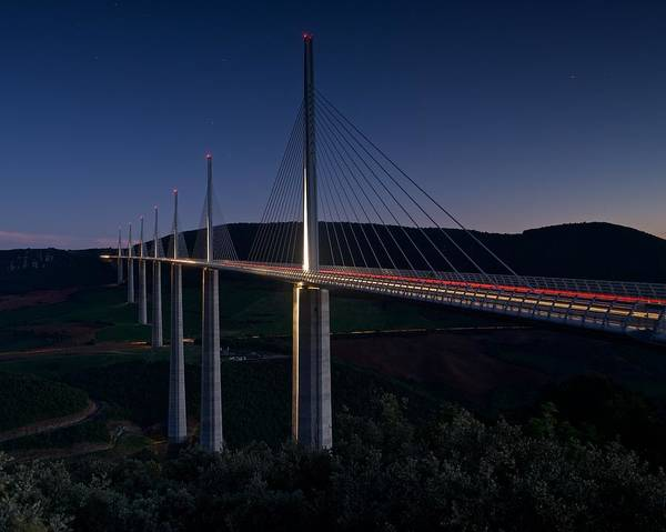 Photograph - Millau Viaduct At Night by Stephen Taylor