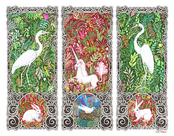 Drawing - Millefleurs Triptych With Unicorn, Cranes, Rabbits And Dove by Lise Winne