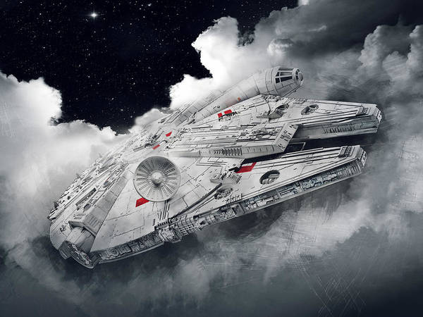 Wing Back Wall Art - Digital Art - Millennium Falcon by Afterdarkness