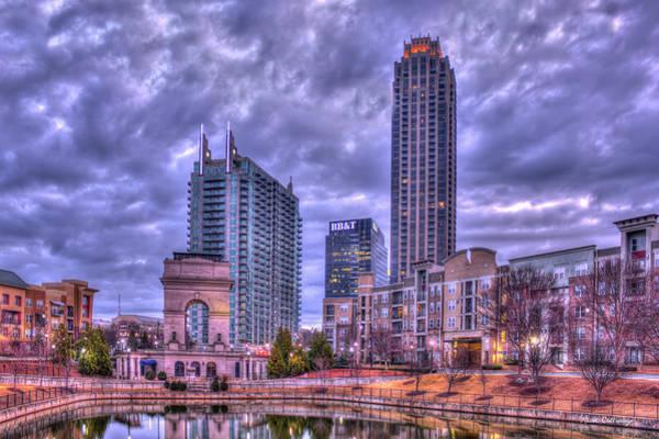 Atlanta Symphony Orchestra Photograph - Millennium Gate Cloudy Sunrise Atlantic Station Art by Reid Callaway