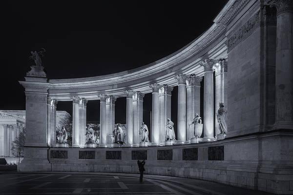 Photograph - Millennium Monument Colonnade Bw by Joan Carroll