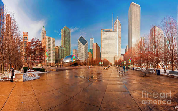 Millennium Park Skyline And The Bean  Art Print