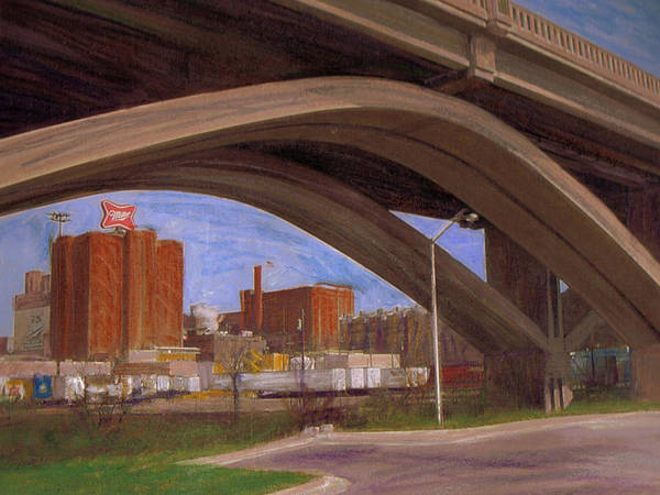 Mixed Media - Miller Brewery Viewed Under Bridge by Anita Burgermeister