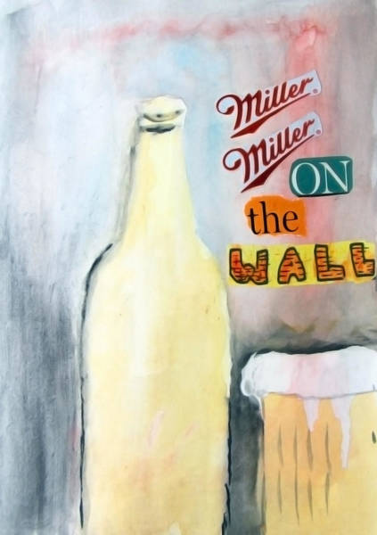 Drunk Mixed Media - Miller Miller On The Wall by Keshava Shukla