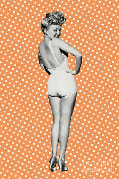 Polka Dots Photograph - Million Dollar Legs Pin Up Girl by Delphimages Photo Creations
