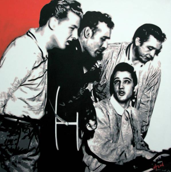 Johnny Cash Painting - Million Dollar Quartet by Hood alias Ludzska