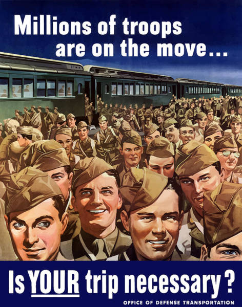 Vintage Train Painting - Millions Of Troops Are On The Move by War Is Hell Store
