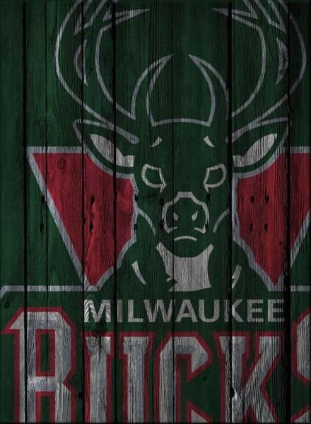 Hoop Photograph - Milwaukee Bucks Wood Fence by Joe Hamilton