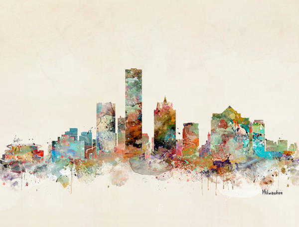 Wisconsin Wall Art - Painting - Milwaukee City Skyline by Bri Buckley