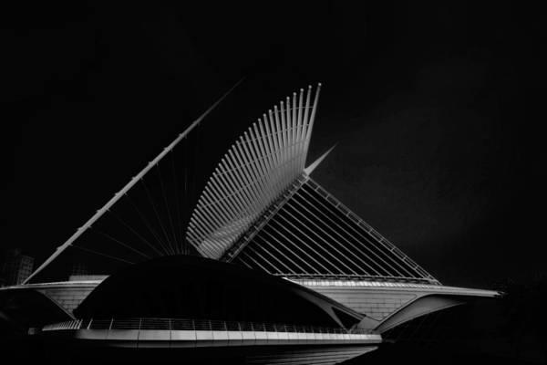 Photograph - Milwaukee Museum Of Art Milwaukee Wisconsin Black White 1 by David Haskett II