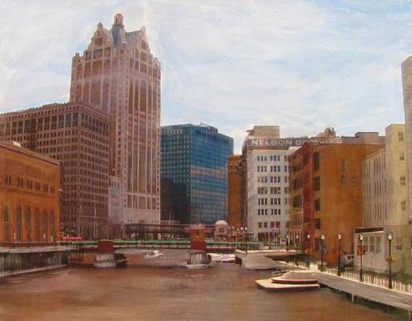 Mixed Media - Milwaukee River View by Anita Burgermeister