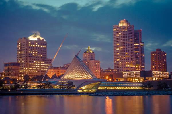 Milwaukee Skyline At Dark Art Print
