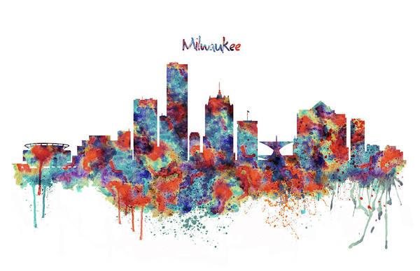 Beautiful Mixed Media - Milwaukee Watercolor Skyline by Marian Voicu