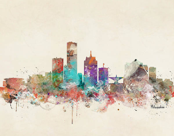Wisconsin Wall Art - Painting - Milwaukee Wisconsin Skyline by Bri Buckley