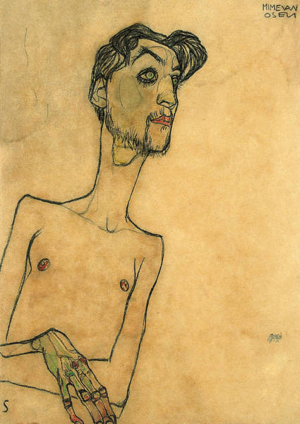 Male Nude Drawing - Mime Van Osen by Egon Schiele